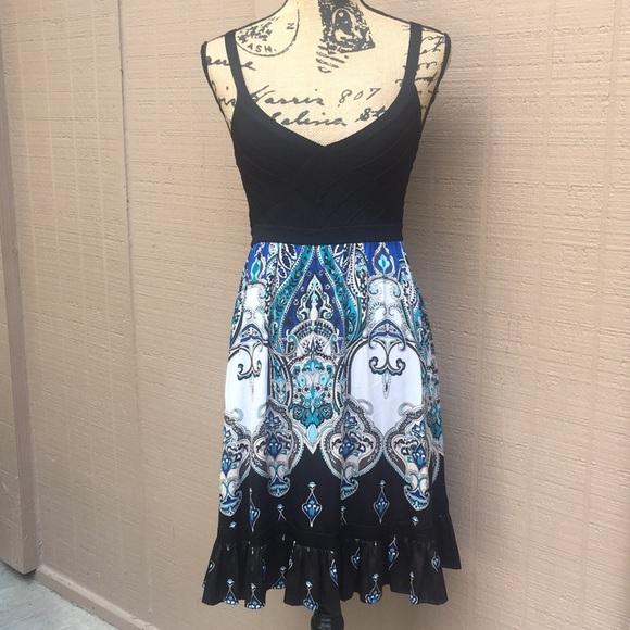 bebe Dresses & Skirts - Sz M Bebe Black Blue White Paisley Mini Dress